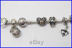 Authentic Pandora Bracelet Sterling Silver with 14 Pandora Charms/Spacers