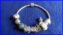 Authentic Pandora Charm Bracelet With 9 ALE Charms 925 Sterling Silver