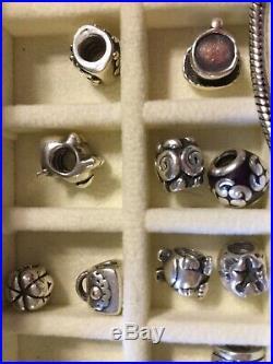 Authentic Pandora FULL Barrel Bracelet Charms 23 Beads Clips Pave Dangle 925 ALE