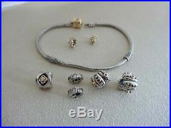 Authentic Pandora Gold and Sterling Silver Charm Bracelet 7 Pandora Charms 7.9L