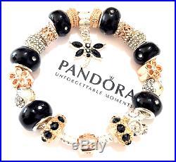 Authentic Pandora ROSE GOLD Sterling Silver European Charm Bracelet B2