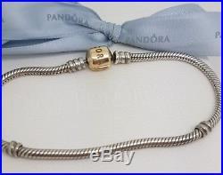 Authentic Pandora Silver & 14k Gold Two Tone Charm Bracelet Gold Clasp 20cm