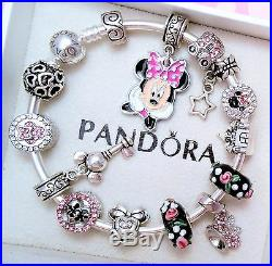 Authentic Pandora Silver Bangle Bracelet With Minnie Disney European Charms