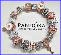 Authentic Pandora Silver Charm Bracelet Rose Gold Key To My Heart European Beads