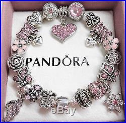 c2ba384e113 Authentic Pandora Silver Charm Bracelet with Pink Love European charms
