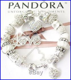 Authentic Pandora Sterling Silver Bracelet Wife Mom White LOVE European Charms