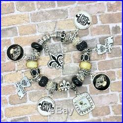 Authentic Pandora Sterling Silver Bracelet with New Orleans Saints European Charms