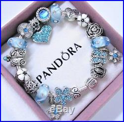 Authentic Pandora Sterling Silver Charm Bracelet With Blue Heart European Charms