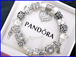 Authentic Pandora Sterling Silver Charm Bracelet With White European Charms