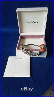Authentic Pandora Sterling Sliver Bracelet with 14 Charms & Box 61g