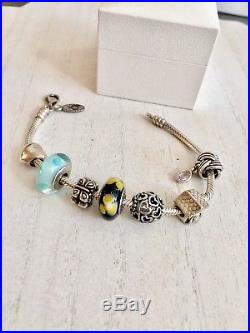 Authentic Pandora Sterling silver bracelet 7 Retired 925 ALE Charms Rare Lot