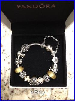 Authentic Pandora bracelet with 13 Charms and safety chain in box