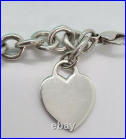Authentic Pre-Owned Tiffany & Co Sterling Silver Blank Heart Tag Charm Bracelet