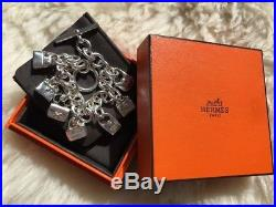 Authentic Rare Hermes Sterling Silver 7 (not 5) Bags Charm Bracelet RRP$3225