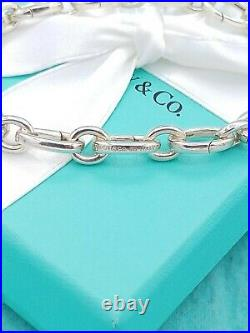 Authentic Tiffany & Co Silver Ovals Link Clasp Charm Bracelet Great Condition 8
