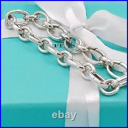 Authentic Tiffany & Co Silver Ovals Link Clasp Charm Bracelet Very Good Conditio