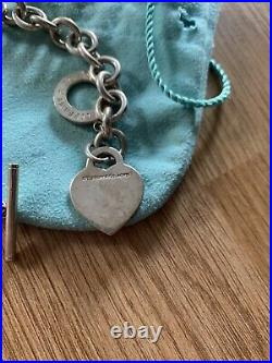 Authentic Tiffany & Co Silver Please Return to Heart Tag Toggle Charm Bracelet
