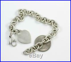 Authentic Tiffany & Co. Sterling Silver 10mm Heart Charm Chain Link Bracelet 8