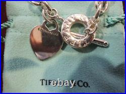 Authentic Tiffany & Co Sterling Silver 925 Heart Tag Charm Toggle Bracelet