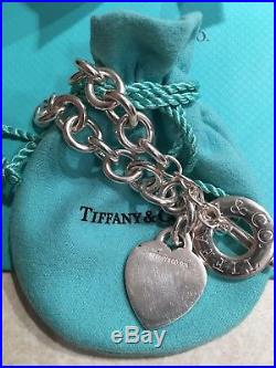 Authentic Tiffany & Co Sterling Silver Heart Charm Toggle Bracelet 7.5