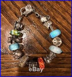 Authentic Trollbead Bracelet Fish Clasp Mix of 14 Trollbeads & Pandora Charms