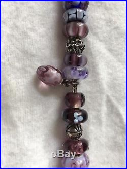 Authentic Trollbeads bracelet purple & silver charms retired and rare