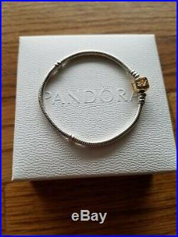 Authentic pandora 585 14kt Gold Barrel clasp Sterling silver Charm Bracelet 7.1