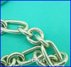Authentic silver TIFFANY & CO. ARC HEART PADLOCK OVAL ROUND LINK charm BRACELET