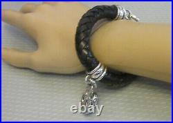 BARRY KIESELSTEIN CORD 1995 STERLING SILVER FROG CHARM BRACELET braided leather