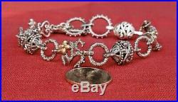 Barbara Bixby Sterling Silver 18k Gold Storyteller Charm Bracelet Cross Ohm Key