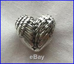 Beautiful Angelic Angel Feathers Wings Heart Charm For Bracelets Silver Plated