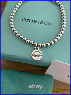 Beautiful Genuine Tiffany And Co Circle Charm Sterling Silver Bracelet Worn Once