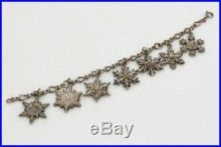 Beautiful Gorham Sterling Silver 1970-1976 Snowflake Charm Bracelet