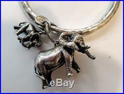 Bold Sterling Silver Susan Cummings 3D Elephants Charm Bangle Bracelet Vintage