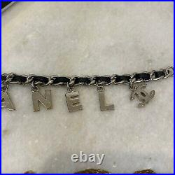 CHANEL 04V Vintage Logo Black Leather & Silver Chain Letter Charms Bracelet