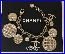 CHANEL 2 CC LOGO LARGE CHARMS CHAIN LINKS BRACELET gold-tone $1150