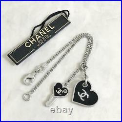 CHANEL BRACELET Silver Chain Silver Black Heart Key CC Logo Charm 07P Authentic
