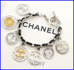 CHANEL Black Leather Coin Charm Bracelet Silver tone Chain Bangle Vintage v696