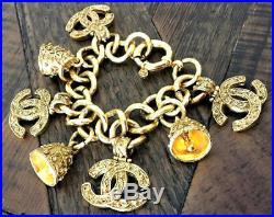 CHANEL Charm Bracelet 18Kt Vermeil Signature CC & Byzantine Bells (Orig $2200.)