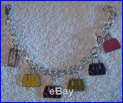 COACH rare Sterling silver Holiday tote charm LINK CHAIN bracelet NEW