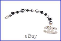 Chanel Black Pearl Bracelet CC Silver Large Logo Charm Cuff Bangle 11v