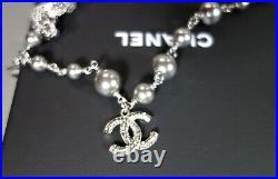 Chanel Bracelet Double Strand Silver Logo CC Grey Pearls Woven Chain NEW BOX