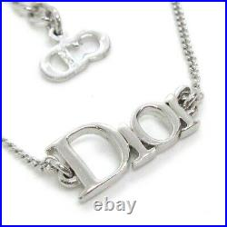 Christian Dior CD Logos Charm Silver Chain Bracelet Bangle Accessories S10153
