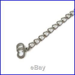 Christian Dior CD Logos Charm Silver Chain Bracelet Bangle Authentic AK44387