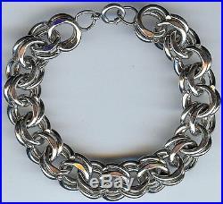 Chunky Heavy Double Link Vintage Sterling Silver Starter Charm Bracelet