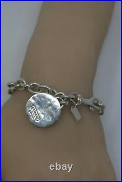 Coach vintage link chain 925 Sterling Silver charm snaphead bracelet VERY RARE