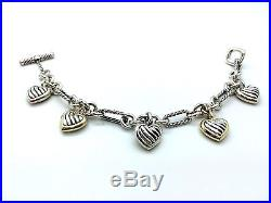 DAVID YURMAN 18K & Silver Heart 5 Charm Cable Bracelet, Toggle Closure(Authentic)