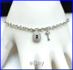 DAVID YURMAN NEW Sterling Silver Pave Diamond Lock & Key Charm Bracelet