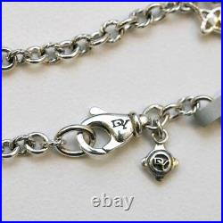 DAVID YURMAN NEW Sterling Silver Pave Diamond Lock & Key Charm Bracelet M