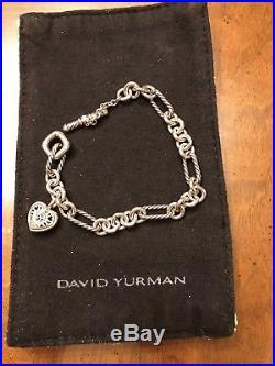 DAVID YURMAN Sterling Silver 925 18K 750 HEART CHARM TOGGLE BRACELET